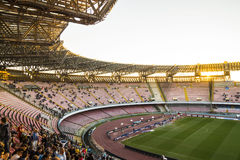 Stadium San Paolo , Napoli. Sunday sunset over the Stadio San Paolo before the match Napoli vs Udinese royalty free stock images