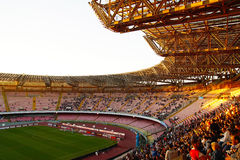 Stadium San Paolo , Napoli. Sunday sunset over the Stadio San Paolo before the match Napoli vs Udinese stock photography
