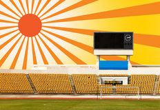 Stadium with scoreboard and sun ray Stock Photo