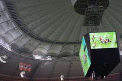 Stadium screen. At PC Place Stadium during American football from Canadian Football League stock images