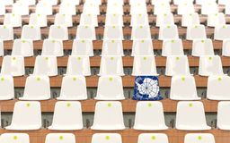 Stadium seat with flag of antarctica. In a row of white chairs. 3D illustration stock illustration