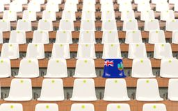Stadium seat with flag of montserrat. In a row of white chairs. 3D illustration Stock Photo