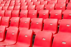 Stadium seating. Stadium chairs neatly lined with beautiful Royalty Free Stock Photography