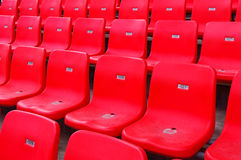 Stadium seating. Stadium chairs neatly lined with beautiful Stock Photography