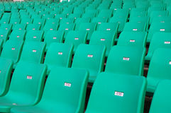 Stadium seating. Stadium chairs neatly lined with beautiful Stock Images