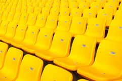 Stadium seating. Stadium chairs neatly lined with beautiful Stock Photo