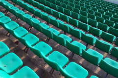 Stadium seating. Stadium chairs neatly lined with beautiful Royalty Free Stock Photo
