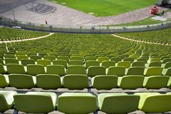 Stadium seating. Green stadium seating Stock Images