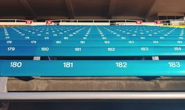 Stadium seating. Blue rows of seats at a stadium Royalty Free Stock Photo