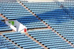 Stadium seats. Several rows of blue plastic stadium seats Stock Photo