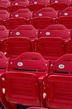 Stadium seats. Grand stands of red stadium seats Royalty Free Stock Photos