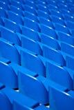 Stadium seats. Empty blue stadium seats shot in perspective Royalty Free Stock Photos