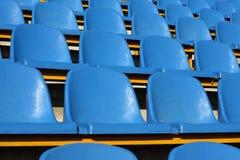 Stadium seats. Empty section of blue seats on stadium Stock Photography