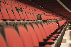 Stadium seats landscape. Photo of empty seats in Hockey stadium with narrow DOF stock photography