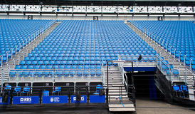 Stadium Seats in Scotland. Blu Empty Seats In Rows In An Outdoor Stadium. Central tribune during the Edinburgh Military Tattoo Royalty Free Stock Photo