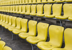 Stadium seats. Yellow stadion chair A field of empty stadium seats Royalty Free Stock Images