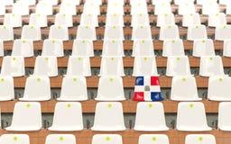 Stadium siedzenie z flaga republika dominikańska royalty ilustracja