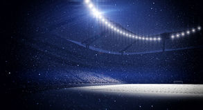Stadium, snowfall. The imaginary stadium is modelled and rendered Royalty Free Stock Photo