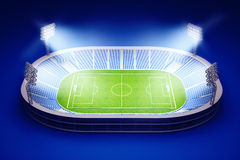 Stadium with soccer field with the lights on dark blue background. 3d illustration of stadium with soccer field with the lights on dark blue background Stock Photo