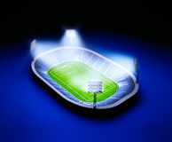 Stadium with soccer field with the lights on dark blue background. 3d illustration of stadium with soccer field with the lights on dark blue background Royalty Free Stock Photos
