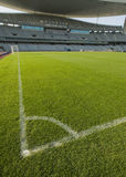 Stadium and Soccer Lines. Green grass field and corner lines in an empty stadium, vertical composition Royalty Free Stock Photography