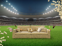 Stadium with a sofa in the middle. 3d rendering Royalty Free Stock Photos