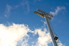 The stadium spot light post Stock Images