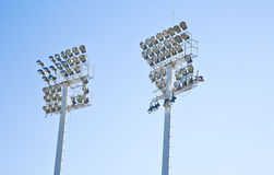 The Stadium Spot-light tower over Blue Sky Royalty Free Stock Images