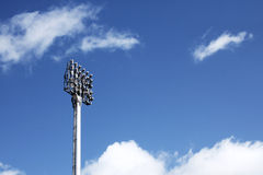 Stadium Spotlight. With blue sky stock images