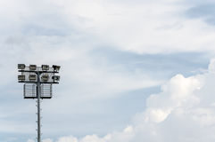 Stadium spotlight and sky in the noon Royalty Free Stock Photos