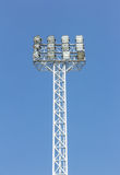 Stadium spotlights with sky background Royalty Free Stock Photography