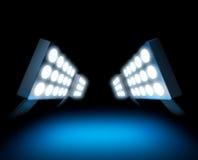 Stadium style lights. Illuminating blue surface stock illustration