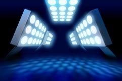 Stadium style premiere lights. Illuminating blue surface on dark background royalty free illustration