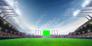 Stadium sunny day. with people fans. 3d render illustration. Blue sky vector illustration