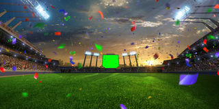 Stadium sunset Confetti and tinsel with people fans. 3d render illustration cloudy Stock Photo