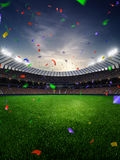 Stadium sunset Confetti and tinsel with people fans. 3d render illustration cloudy. Sky royalty free stock photography