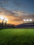 Stadium in sunset. with people fans. 3d render illustration. Blue sky vector illustration