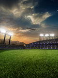 Stadium sunset with people fans. 3d render illustration cloudy stock illustration
