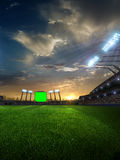 Stadium sunset  with people fans. 3d render illustration cloudy Royalty Free Stock Image