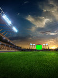 Stadium sunset with people fans. 3d render illustration cloudy. Sky royalty free illustration