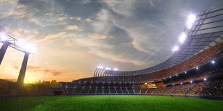 Stadium sunset with people fans. 3d render illustration cloudy royalty free illustration
