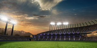Stadium sunset with people fans. 3d render illustration cloudy. Sky vector illustration