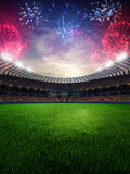 Stadium sunset with people fans. 3d render illustration cloudy sky vector illustration