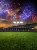 Stadium sunset with people fans. 3d render illustration cloudy sky royalty free illustration