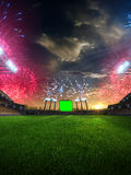 Stadium sunset  with people fans. 3d render illustration cloudy sky. Stadium sunset  with people fans and fireworks. 3d render illustration cloudy sky Stock Photos