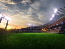 Stadium sunset with people fans. 3d render illustration cloudy vector illustration