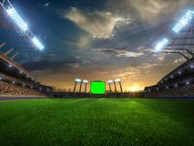 Stadium sunset with people fans. 3d render illustration cloudy. Sky royalty free stock photos