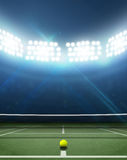 Stadium And Tennis Court. A tennis court in an arena with a marked green hard surface at night under illuminated floodlights Royalty Free Stock Photo