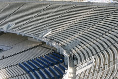 Stadium tiers. Athens olympic stadium detail seats tiers and broadcasting camera Stock Images