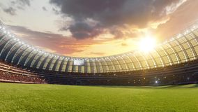 Stadium timelapse Moving lights, animated flash and flags with people fans. 3d render illustration cloudy day. Sky royalty free illustration